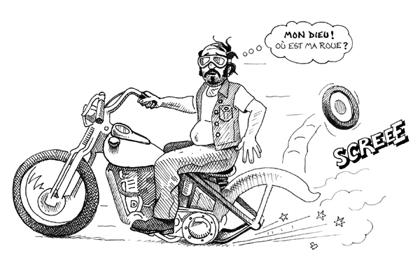 Mon Dieu - cartoon of biker (in the style of The Fabulous Furry Freak Brothers) by Orlando Lund