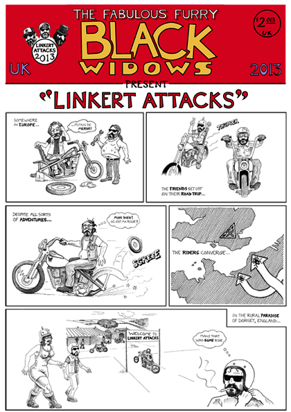 Linkert Attacks cartoon (in the style of The Fabulous Furry Freak Brothers) by Orlando Lund