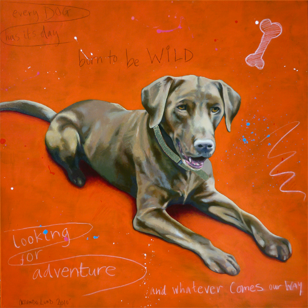 Born to be Wild - Brown Labrador painting by Orlando Lund