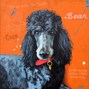 Coco the Poodle - painting by Orlando Lund