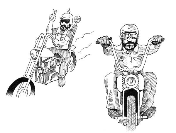 Linkert Attacks - cartoon of 2 bikers (in the style of The Fabulous Furry Freak Brothers) by Orlando Lund