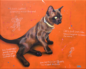 Milo the Burmese cat - painting by Orlando Lund