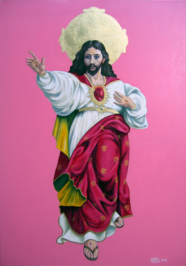 Pink Jesus - paining of Jesus with strong pink background by Orlando Lund
